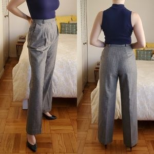 Vintage Herringbone Tweed Wide Leg High Waisted